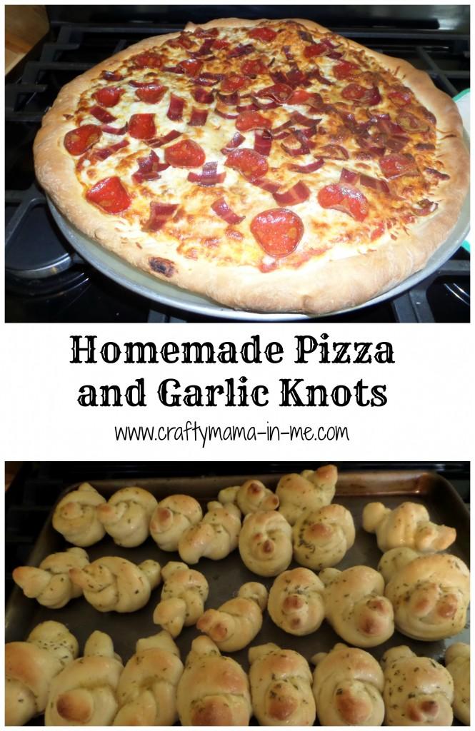Homemade Pizza and Garlic Knots