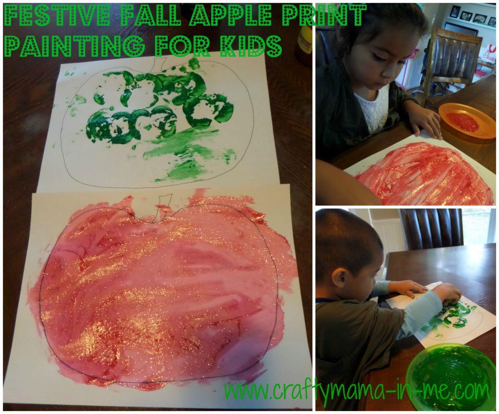 Festive Fall Apple Print Painting for Kids