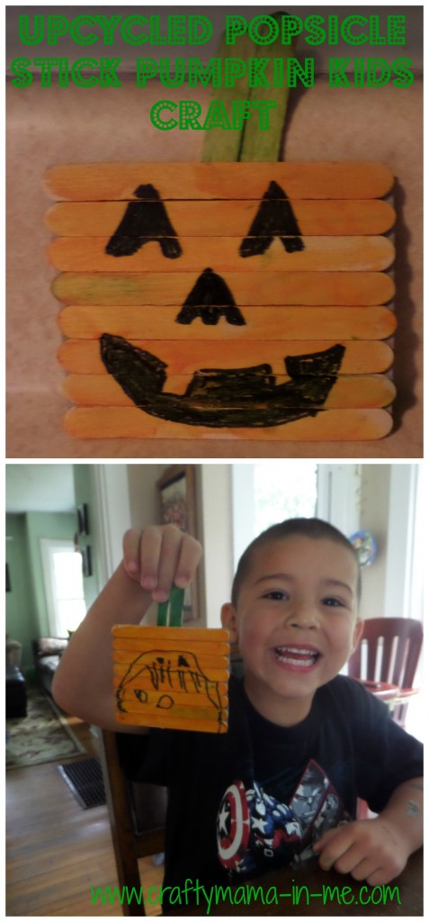 Upcycled Popsicle Stick Pumpkin Kids Craft
