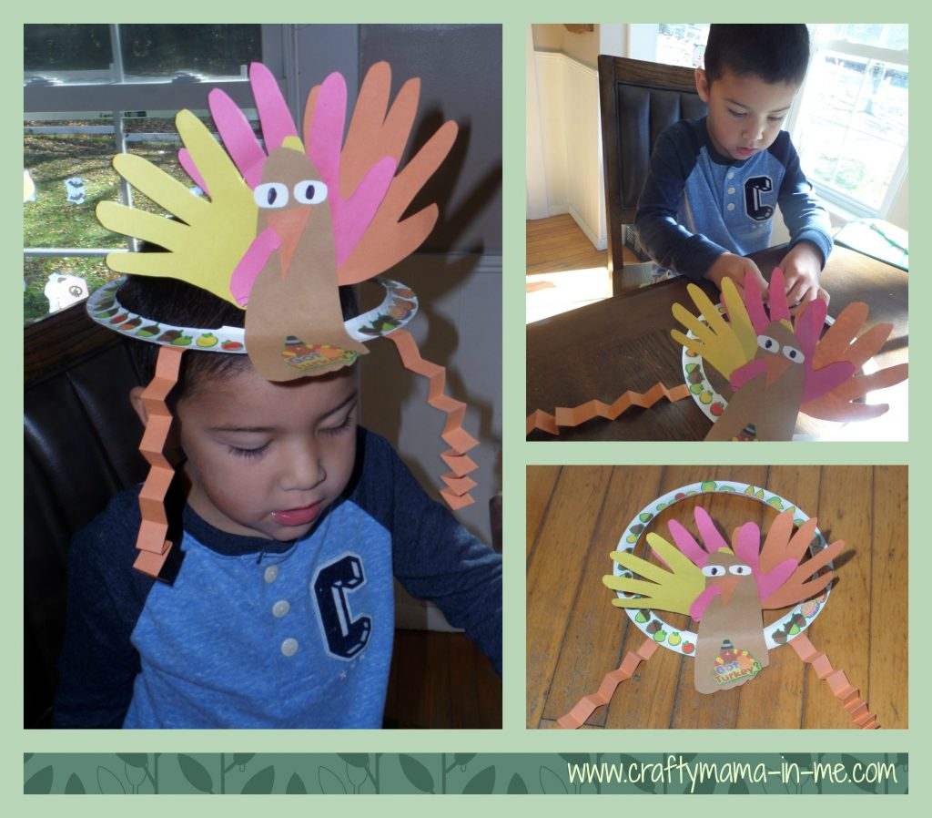 Festive Turkey Handprint and Footprint Paper Plate Hat