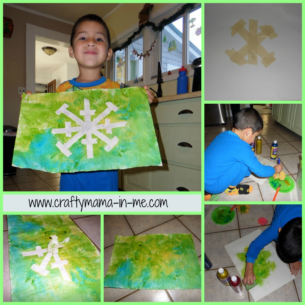 Magic Masking Tape Snowflake Paintings for Kids