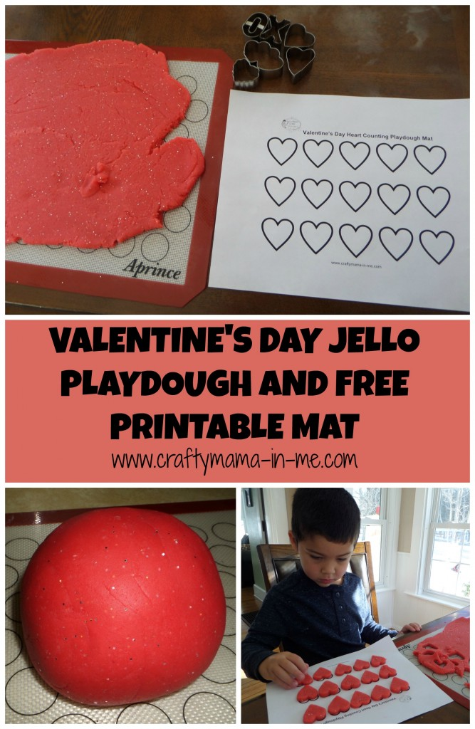Valentine's Day Jello Playdough and Free Printable Mat