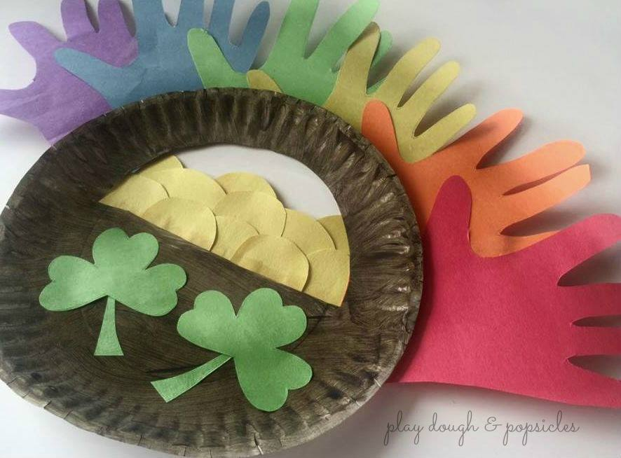 Paper Plate Pot of Gold & Hand Print Rainbow Craft For Kids from Play Dough & Popsicles