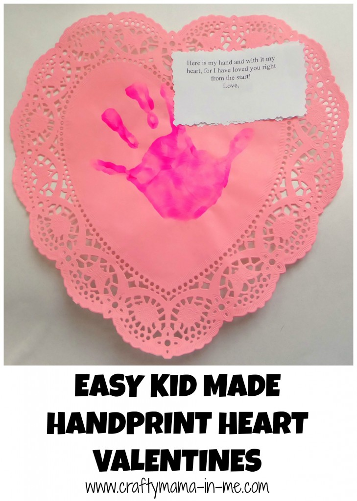Easy Kid Made Handprint Heart Valentines