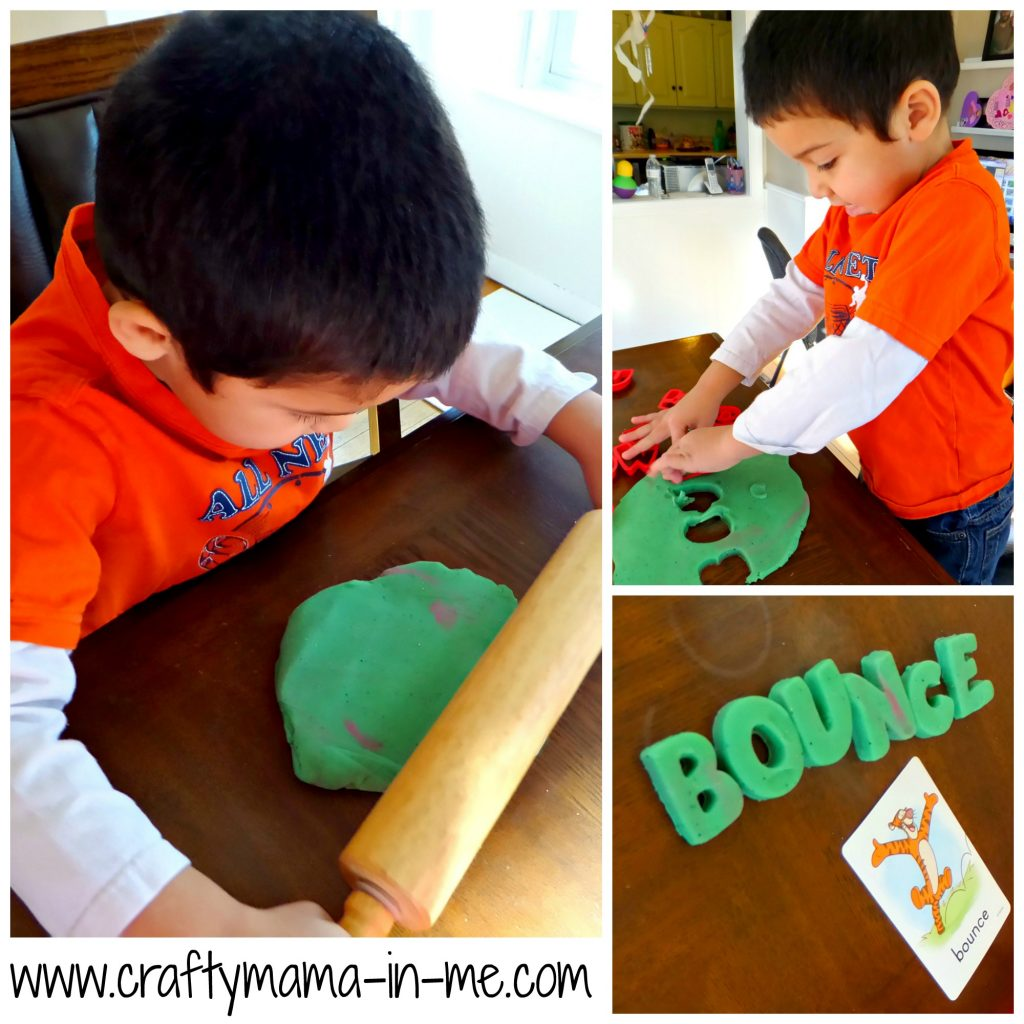 Learning with Playdough Letter's and First Words Flash Cards