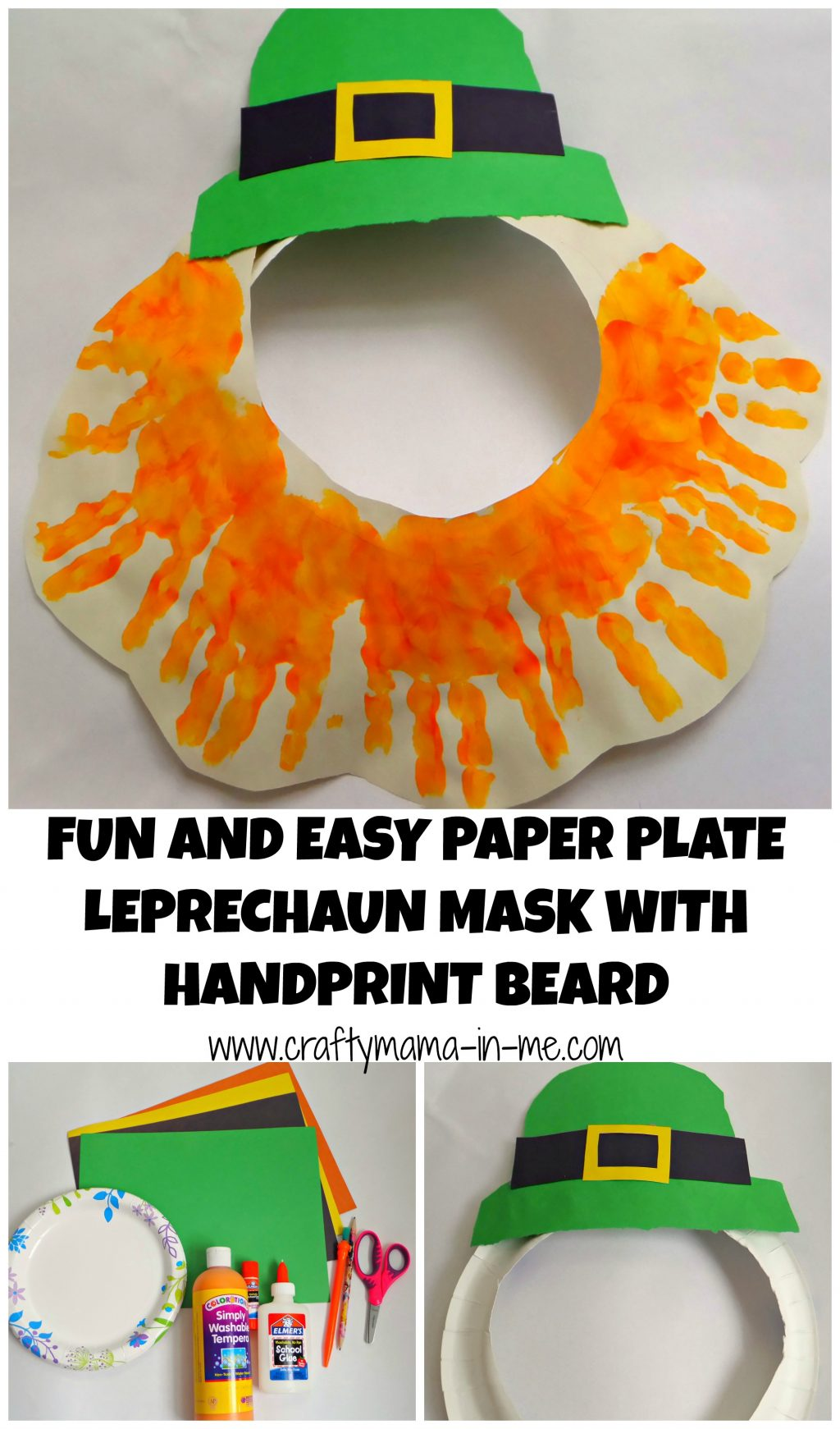 Fun And Easy Paper Plate Leprechaun Mask With Handprint