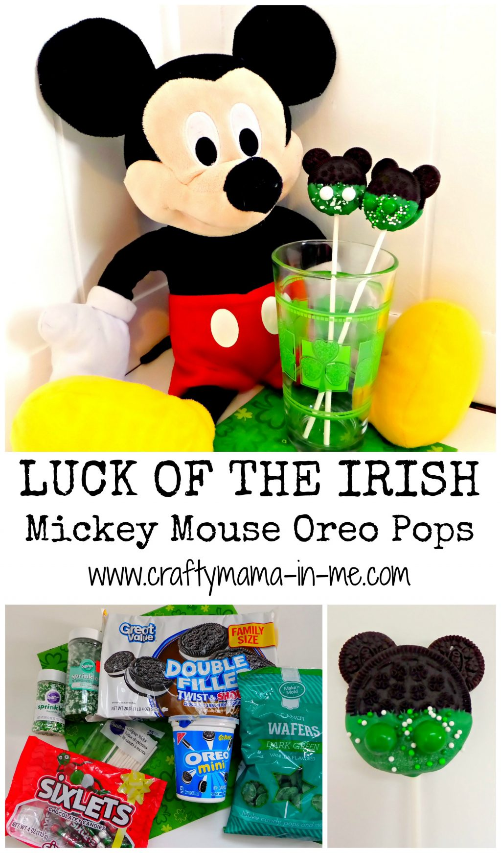 Luck of the Irish Mickey Mouse Oreo Pops