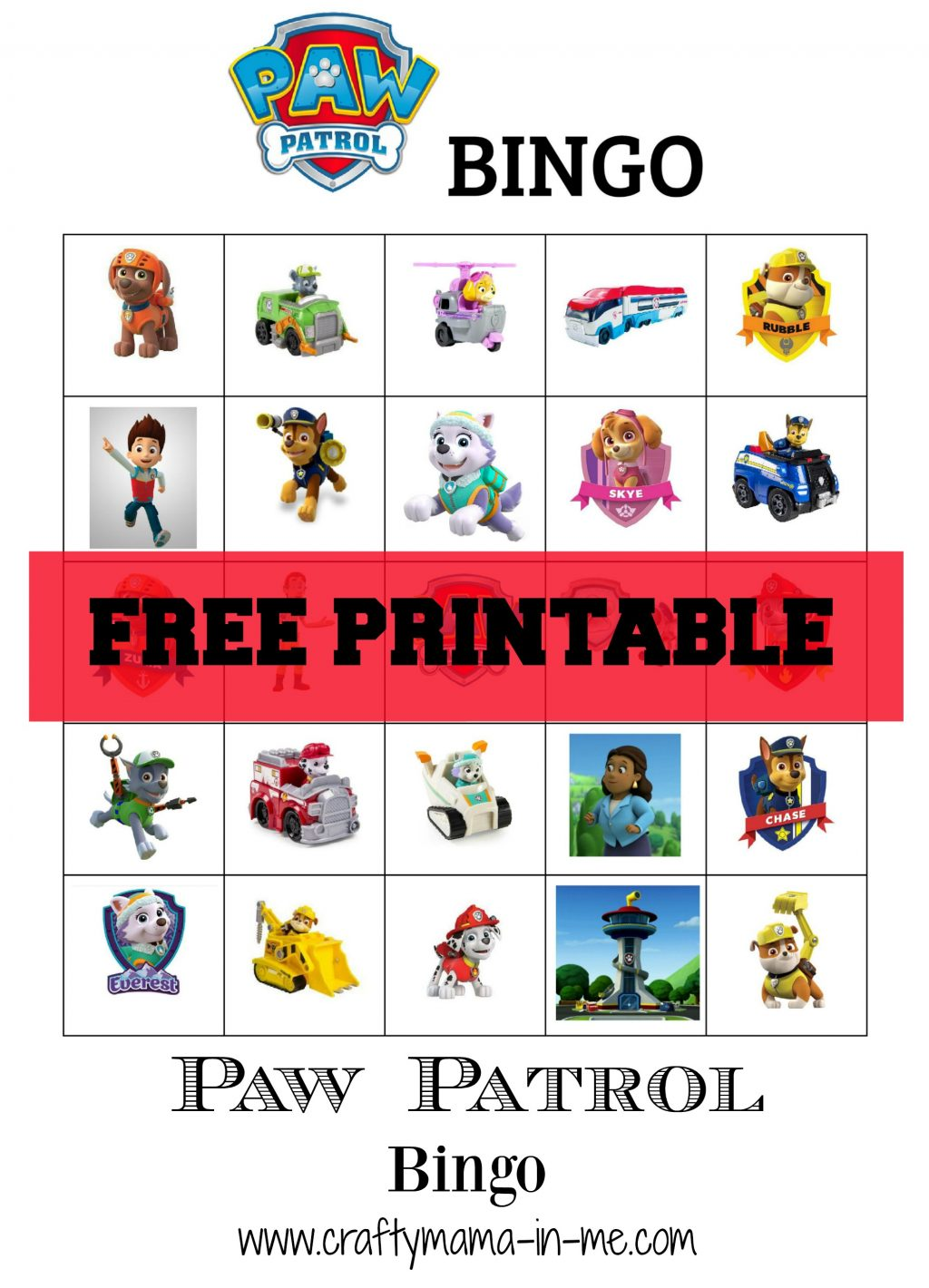 photograph relating to Paw Patrol Printable named Totally free Printable Paw Patrol Bingo - Cunning Mama in just ME!