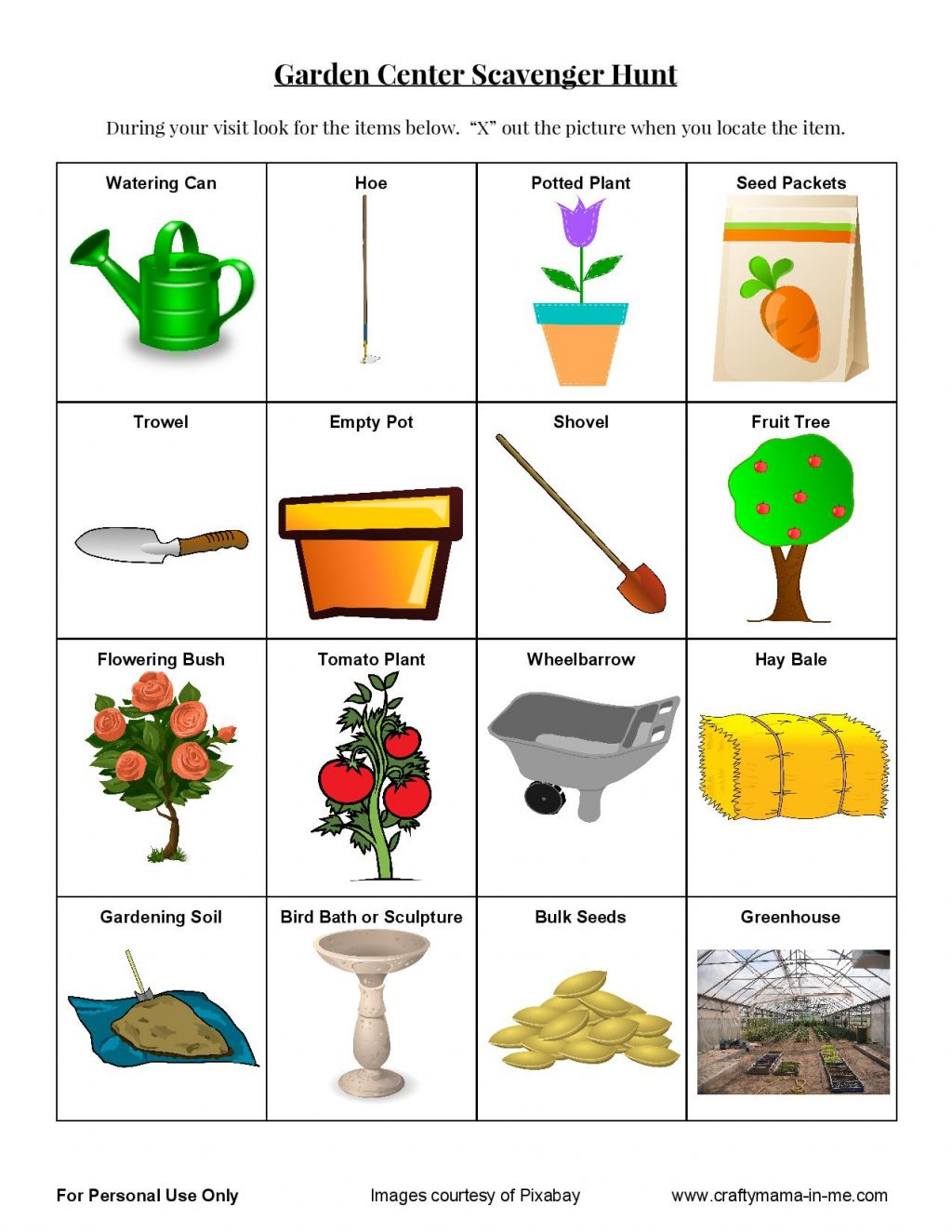 Fun Garden Center Scavenger Hunt for Kids Free Printable Crafty Mama in ME