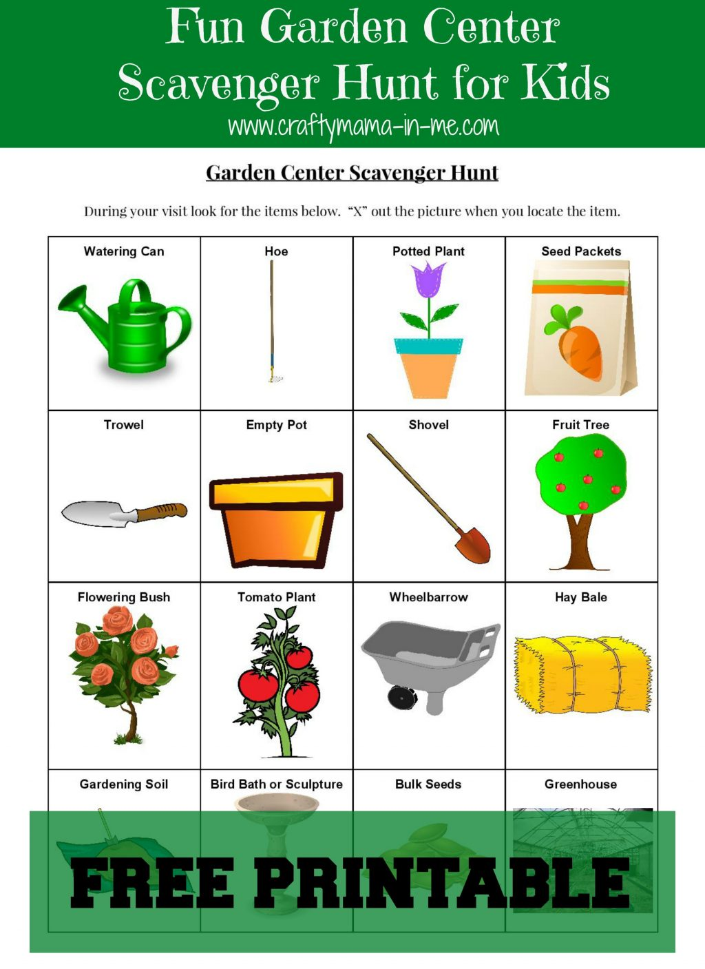 Fun Garden Center Scavenger Hunt for Kids {Free Printable ...