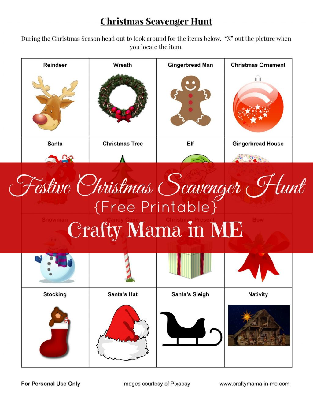 Festive Christmas Scavenger Hunt {Free Printable}