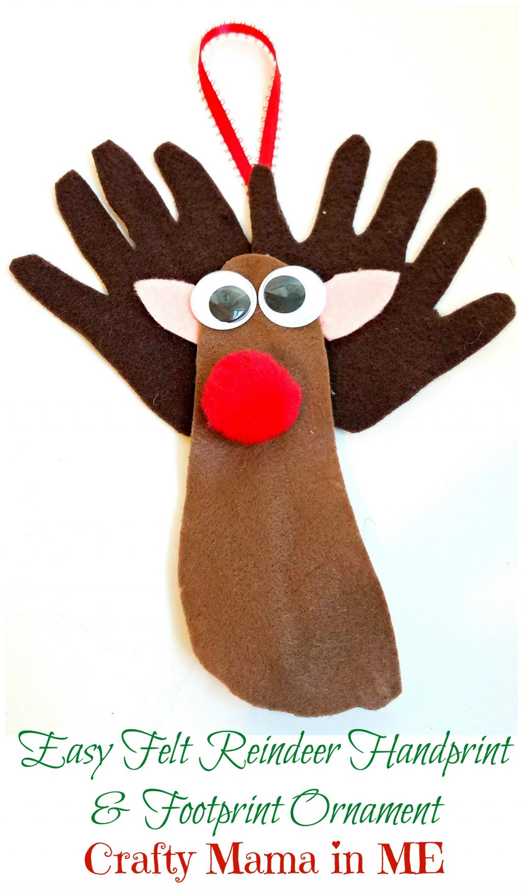 Easy felt reindeer handprint and footprint ornament for Reindeer project