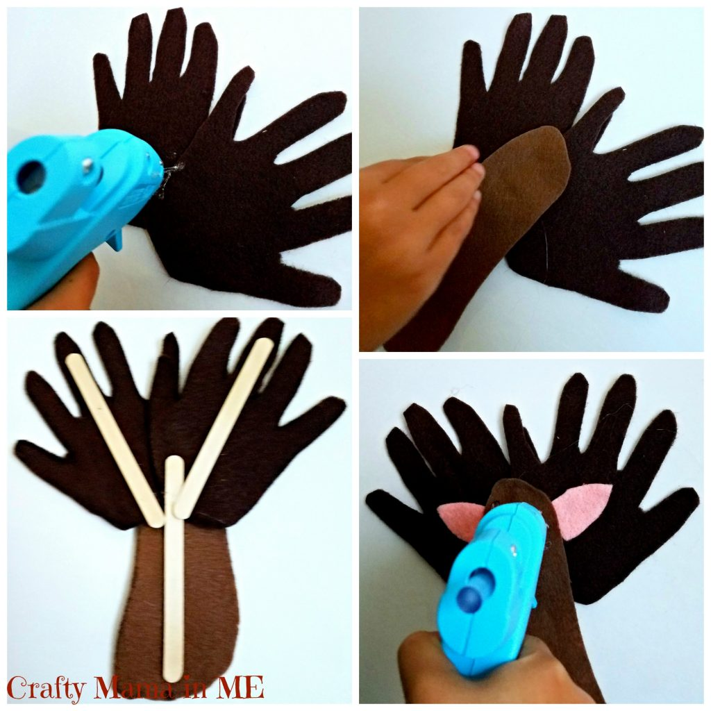 Easy Felt Reindeer Handprint and Footprint Ornament