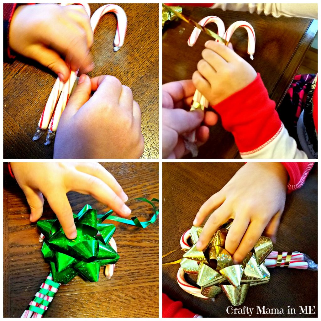 Festive Kid Made Candy Cane & Ribbon Ornaments