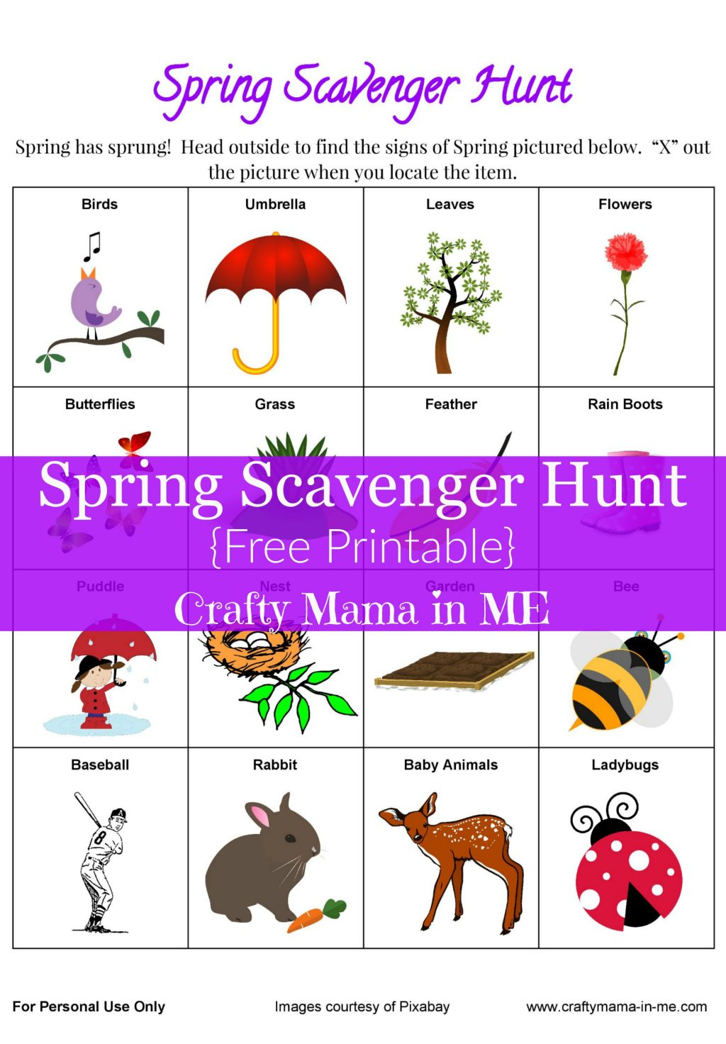 Get Outside with a Spring Scavenger Hunt {Free Printable}