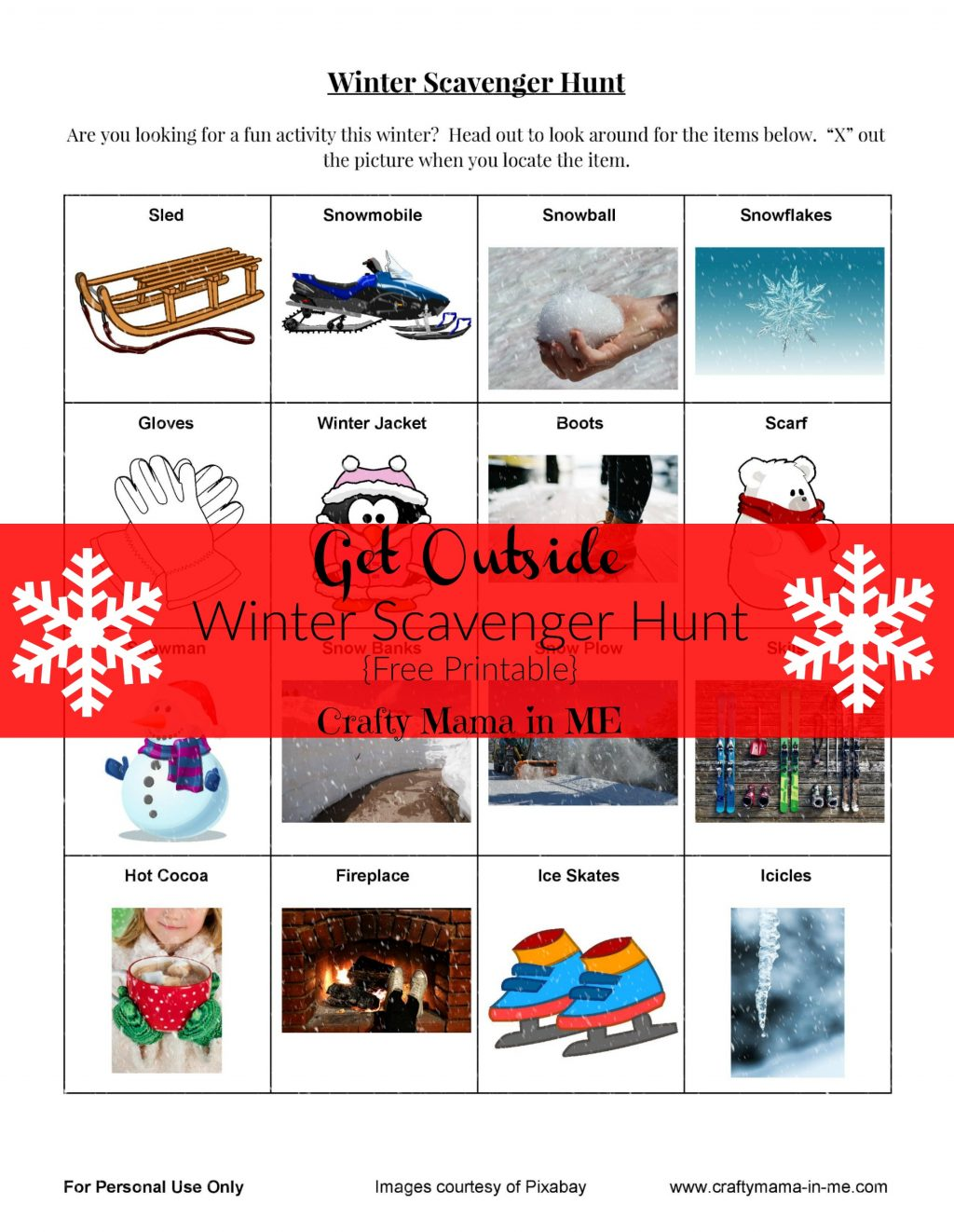 Get Outside with a Fun Winter Scavenger Hunt {Free Printable}