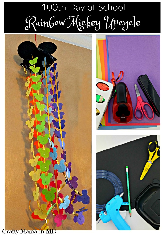 100th Day of School Rainbow Mickey Upcycle
