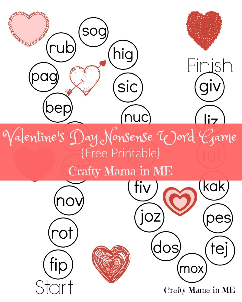 Valentine's Day Nonsense Word Game {Free Printable}
