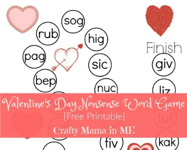 photo about Word Game Printable called Valentines Working day Nonsense Phrase Match Absolutely free Printable - Cunning