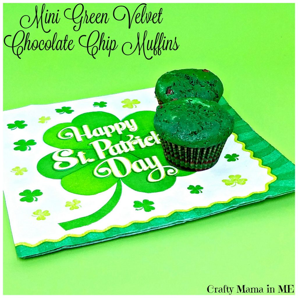 Kids in the Kitchen: Mini Green Velvet Chocolate Chip Muffins