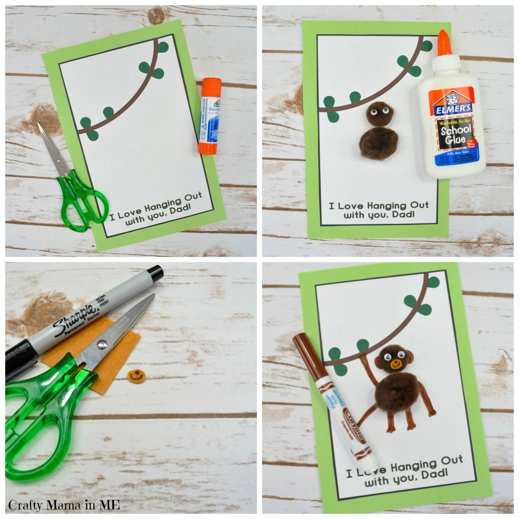 Pom Pom Father's Day Monkey Card